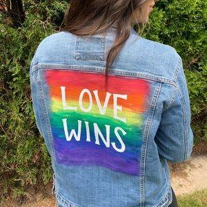 Painted custom brand new jean jacket